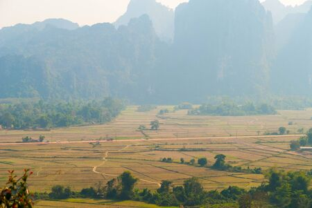 Scenic karst mountains surrounding Vang Vieng, Laos