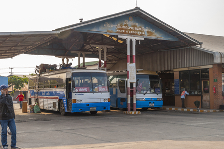 Nakasong, Laos - Mar 2016: Local bus station with long distance busses