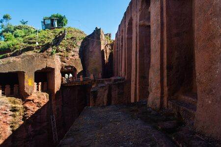 Lalibela, Ethiopia - Nov 2018: View on underground churches in Lalibela, Ethiopia