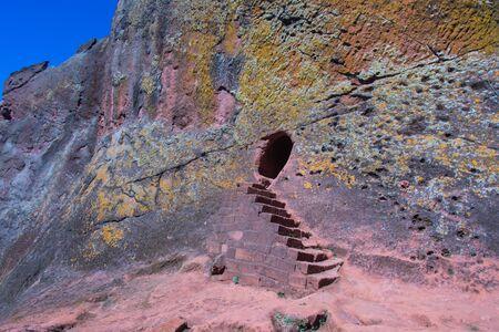 Facade of the underground church in Lalibela, Ethiopia