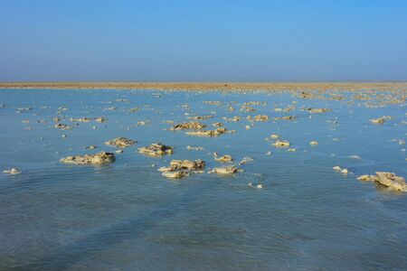 Danakil depression with salt lake and crystals, Dallol desert, Ethiopia