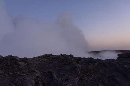 Lava in sunrise at Erta Ale volcanic crater, Ethiopia