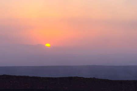 Lava landscape in sunrise at Erta Ale volcanic crater, Ethiopia