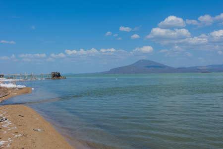 Scenic Afrera salt lake, Afar region, Ethiopia
