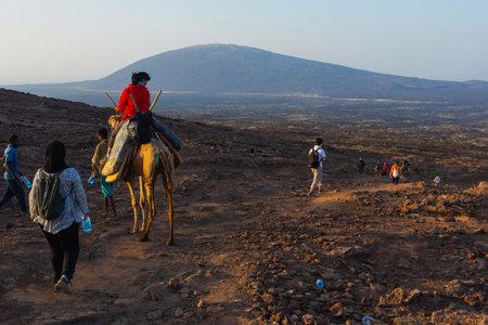 Erta Ale, Ethiopia - Nov 2018: Trekking downhill and returning from the Erta Ale volcano visit, Ethiopia