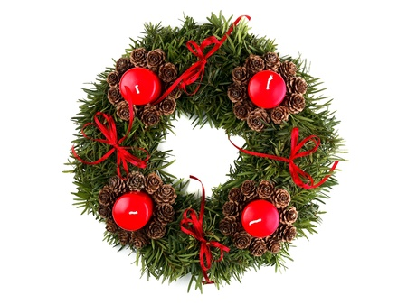 Advent wreath isolated on white  Stock Photo