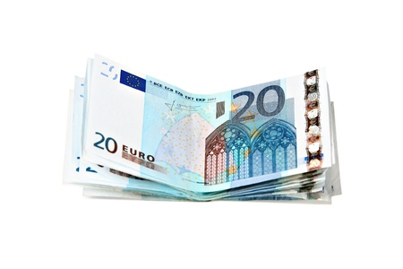fanned: 20 Euros notes fanned out on a white background
