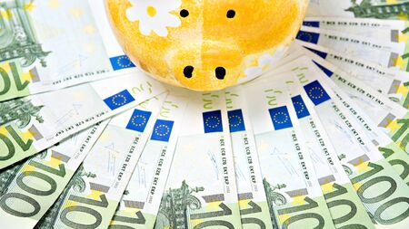 Yellow ceramic piggy bank on a pile of European banknotes photo