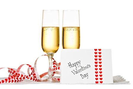 Two Glasses of Champagne and Valentines Day Card photo