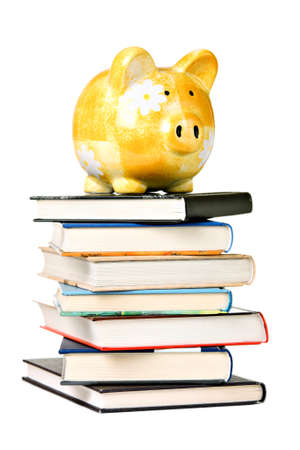 Yellow ceramic piggy bank on a pile of different books, isolated on white photo