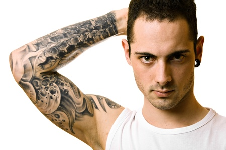 cute tattoo: Handsome young man with tattoo, isolated on white Stock Photo