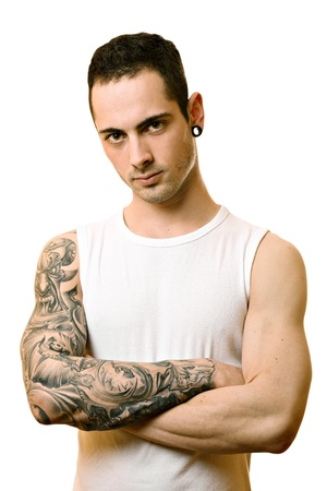 male arm: Handsome young man with tattoo, isolated on white Stock Photo