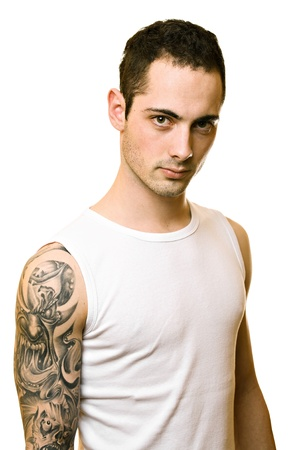 Handsome young man with tattoo, isolated on white Stock Photo