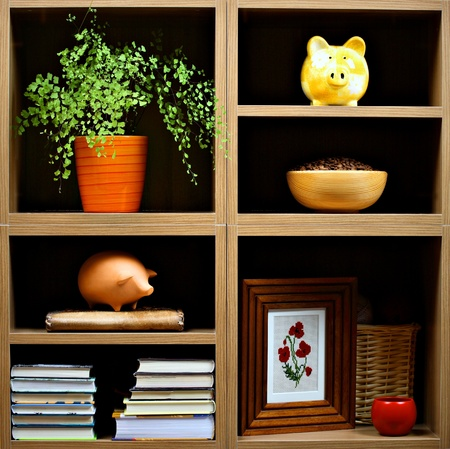 Beautiful wooden shelves with different home related  objects Stock Photo - 9169168