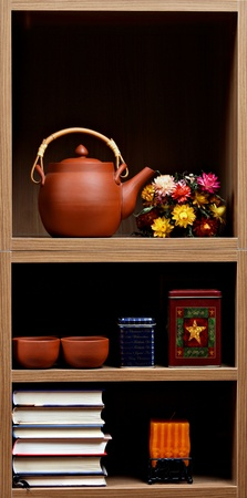 Beautiful wooden shelves with different home related  objects Stock Photo - 9169166