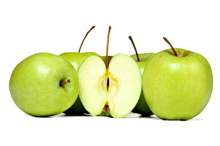 Fresh green apples, isolated on white Stock Photo - 9347836