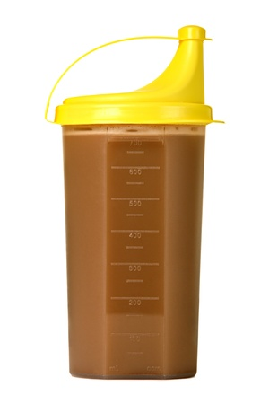 Protein shake in plastic shaker, isolated on white  Stock Photo