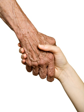 Old and young hands, isolated on white - two generations concept  Stock Photo
