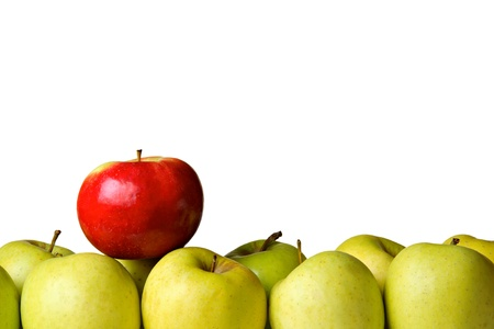One red apple on yellow apples, isolated on white