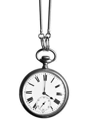 Vintage pocket watch, hanging, isolated on white Stock Photo