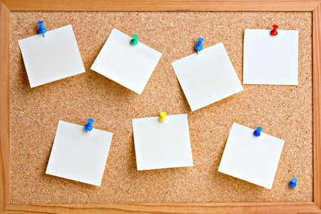 pin board: Cork board with blank notes  Stock Photo