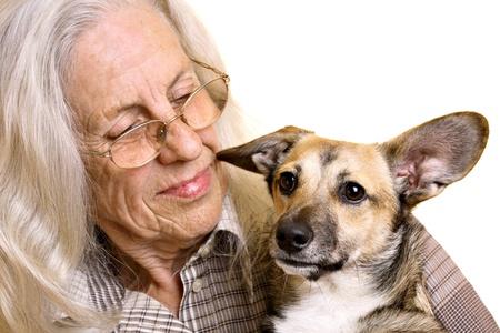 amigos abrazandose: Mujer senior con cachorro de raza mixta lindo