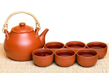 Tea set, isolated on white photo