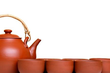 chinese teapot: Tea set, isolated on white