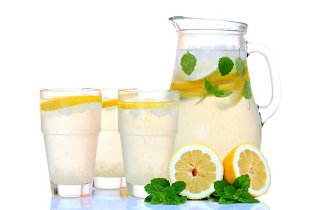 Ice cold lemonade with mint. Back lit.