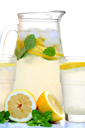 Ice cold lemonade with mint. Back lit. photo