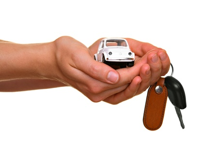 car loans: Car sellingbuying concept, isolated on white Stock Photo