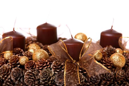 Modern Advent Wreath, isolated on white Stock Photo - 11151914