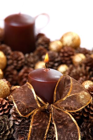 Modern Advent Wreath closeup, isolated on white photo