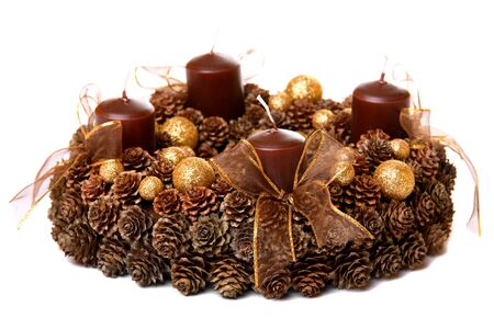 Modern Advent Wreath, isolated on white photo