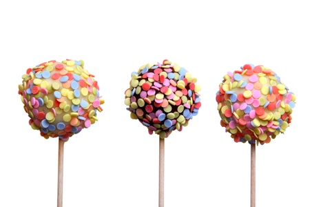 cake ball: Colorful cake pops, isolated on white