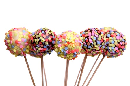 chocolate sprinkles: Colorful cake pops, isolated on white