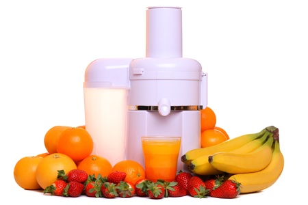 Juice extractor with different fruit, isolated on white