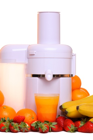 extractor: Juice extractor with different fruit, isolated on white