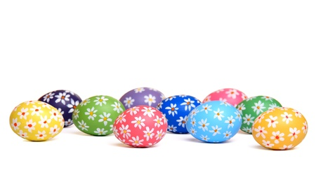 Colorful hand painted easter eggs, isolated on white Stock Photo - 12718037