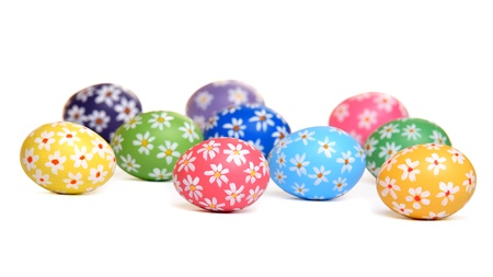 Colorful hand painted easter eggs, isolated on white