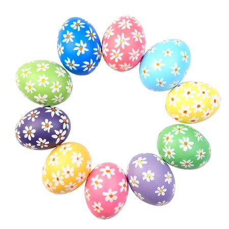easter decorations: Colorful hand painted easter eggs, isolated on white