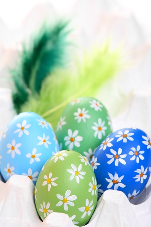 Colorful hand painted easter eggs with feathers in egg carton Stock Photo - 12718221