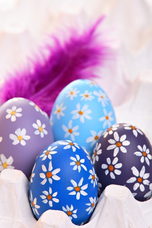 Colorful hand painted easter eggs with feathers in egg carton Stock Photo - 12718226