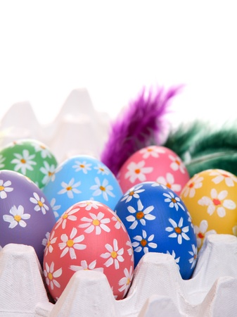 egg carton: Colorful hand painted easter eggs with feathers in egg carton