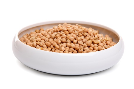 Chick Peas in ceramic bowl, isolated on white  photo