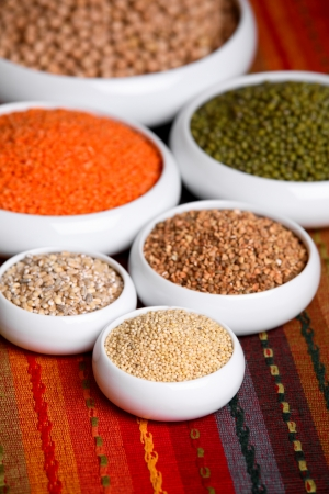 Millet, barley, buckwheat grains, red lentil, green soybeans and chick peas in ceramic bowls Stock Photo - 13969670