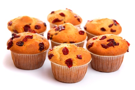 Cranberry muffins, isolated on white