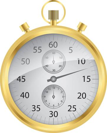 timer: Golden stop watch vector Illustration