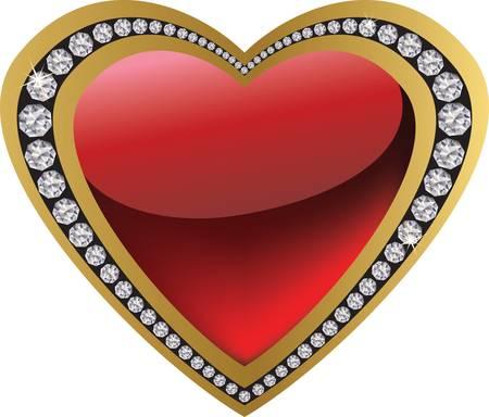 golden heart: Diamond heart for Valentine day, vector  Illustration