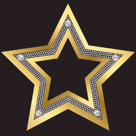 bling: Golden star with diamonds, vector